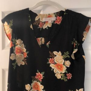Ann Taylor LOFT Black multi floral top